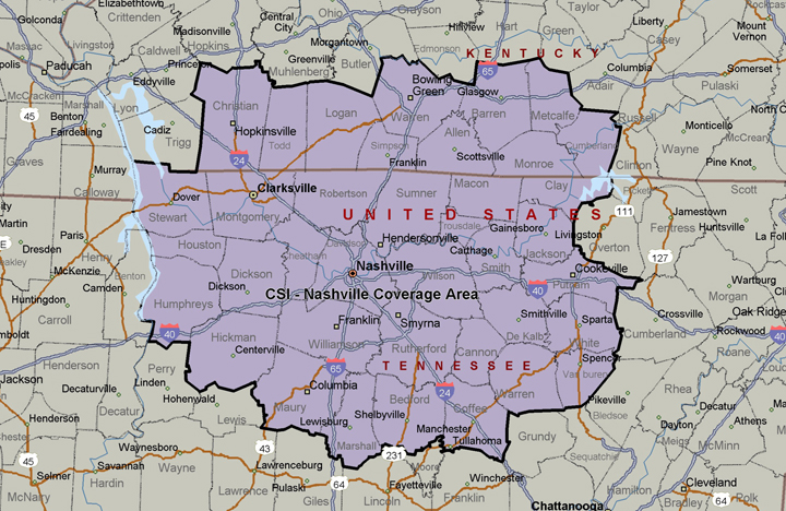 CSI - Nashville Coverage Area
