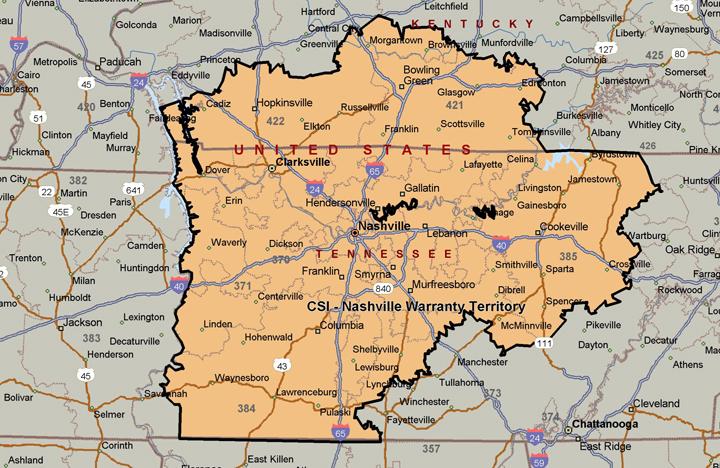 CSI Nashville Warranty Territory